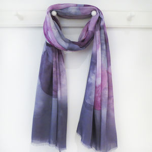 Pink And Plum Spot Print Scarf With Gift Box And Card - womens