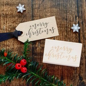Merry Christmas Calligraphy Style Rubber Stamp