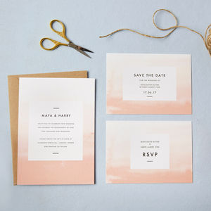 Coral Ombre Wedding Invitations