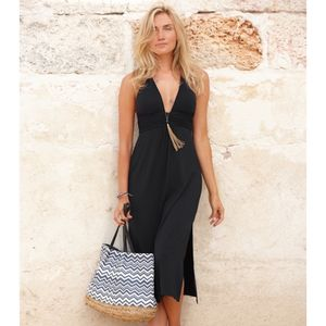 St Tropez Three Quarter Length Halter Dress Black - dresses