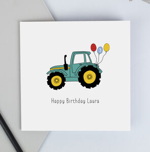 Tractor Birthday Card With Personalised Name And Age