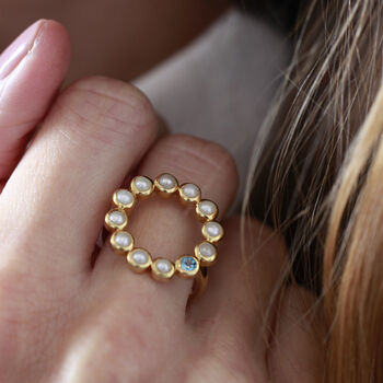 Pearl Halo Ring With Blue Topaz Gemstone