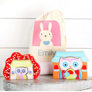 Two Wooden Owl Puzzles And Personalised Cotton Bag - toys & games