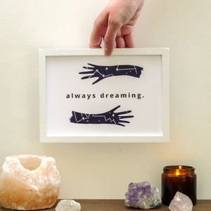 Positive Dreamer A5 Lettered Constellation Quote Print - children's room