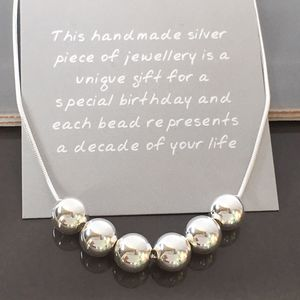 60th Birthday Handmade Silver Bead Necklace