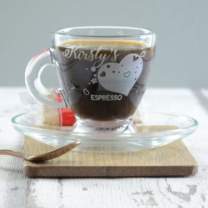Heart Personalised Espresso Cup And Saucer