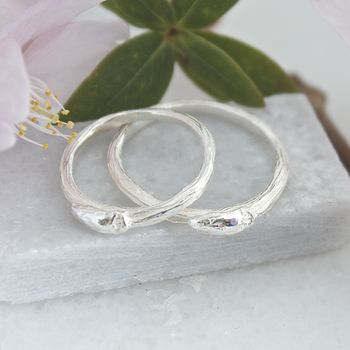 Silver Willow Twig Wedding Rings, Silver Twig Rings
