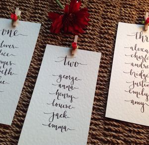 Hand Lettered Seating Plan Cards - wedding stationery