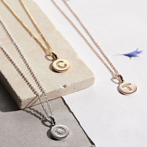 Genuine Diamond Initial Disc Necklace - top 100 gifts