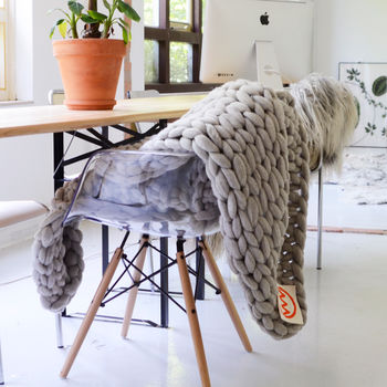 Neutral Handmade Knitted Wool Throw
