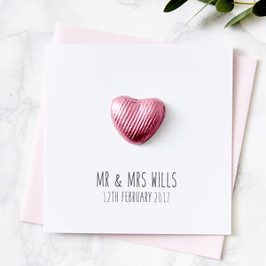 Chocolate Heart Personalised Wedding Card - wedding cards