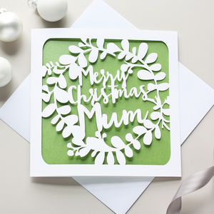 Personalised Wreath Christmas Card - christmas cards