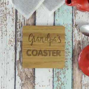 Personalised Grandpa Engraved Wooden Coaster