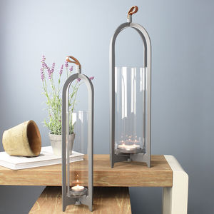 Tall Grey Hurricane Lantern - candles & home fragrance
