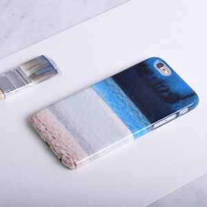 Ocean Beach Phone Case Design In Blue, White And Brown - womens