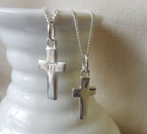 Silver Cross Charm Pendant And Chain