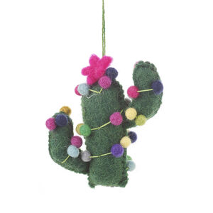 Handmade Cactus With Pink Star Fair Trade