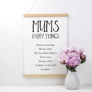 Personalised Happy Things Print For Mum