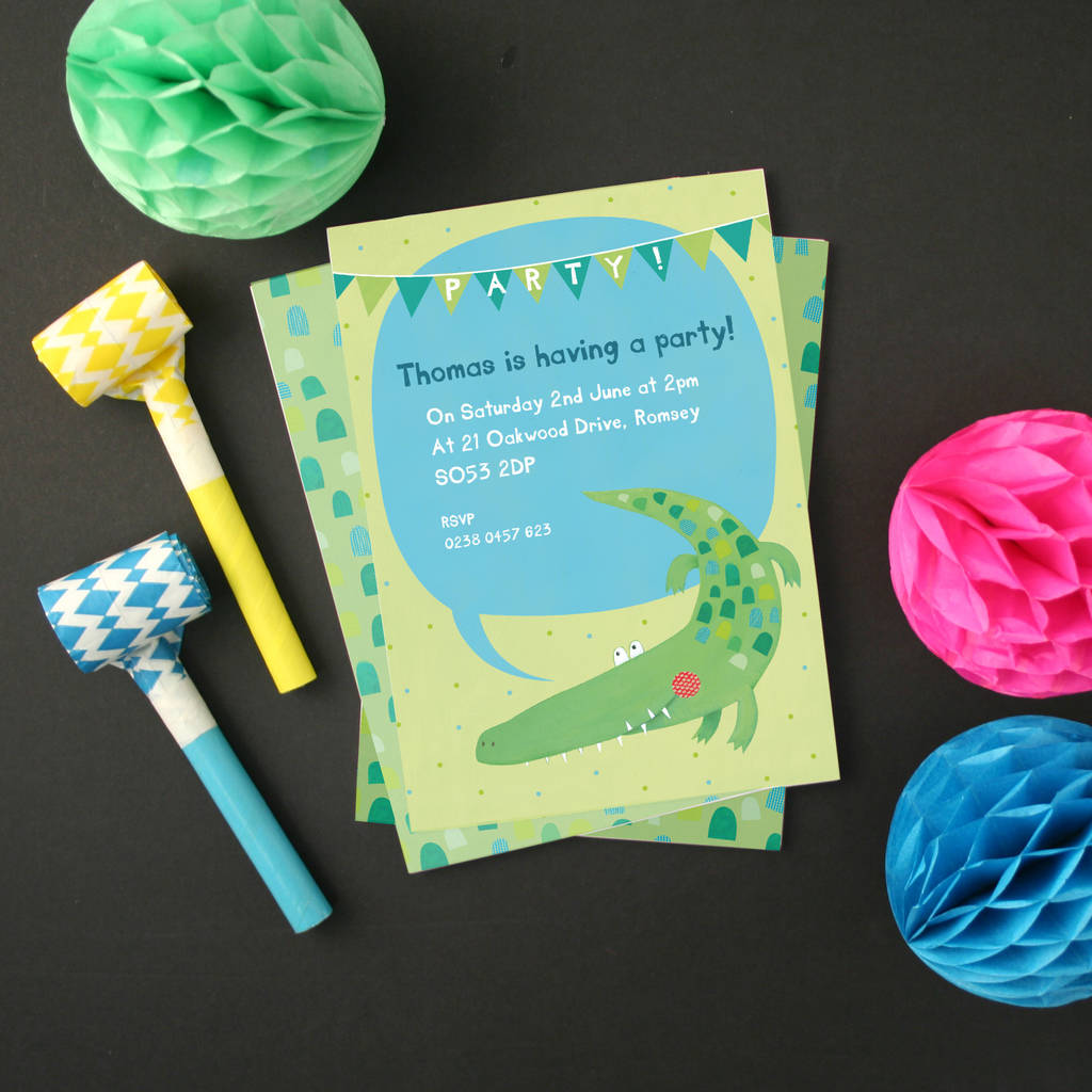 Personalised Crocodile Party Invitations