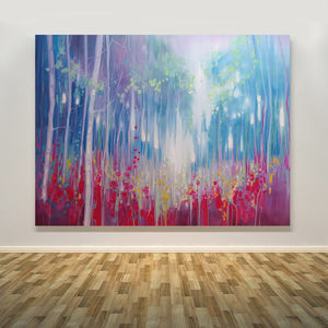 Summer Roaring Abstract Landscape With Flowers