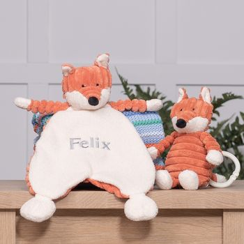 Personalised Cordy Roy Baby Fox Comforter And Toy Set