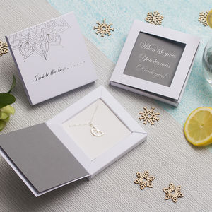 Lemon Slice Necklace In Personalised Greetings Box