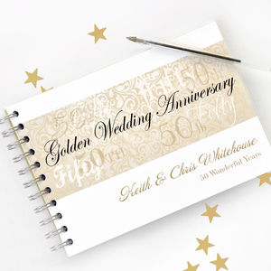 Personalised Golden Wedding Anniversary Guestbook - 50th anniversary: gold
