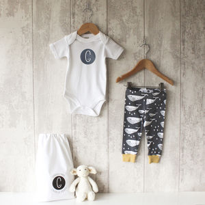 Personalised Whale Baby Bodysuit And Leggings Set - clothing