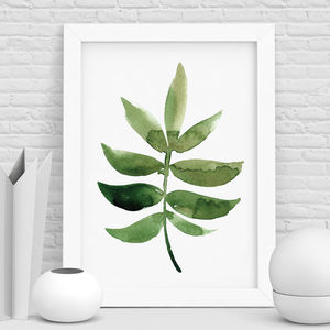 Botanical Print Watercolour Leaf - shop by colour