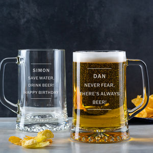 Personalised Pint Glass Beer Tankard For Him - sale