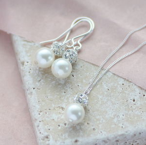 Pearl And Glitterball Necklace And Earring Set - jewellery sets