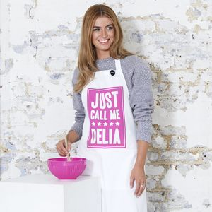 'Just Call Me Delia' Pink Apron - for friends