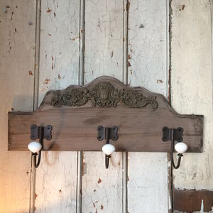 Carved Wooden Coat Rack - bathroom