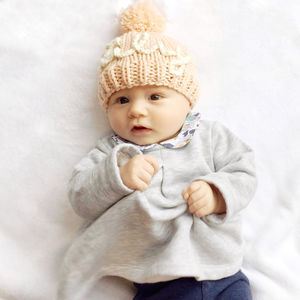 Personalised Name Baby's Hand Knitted Hat Beanie - hats, scarves & gloves