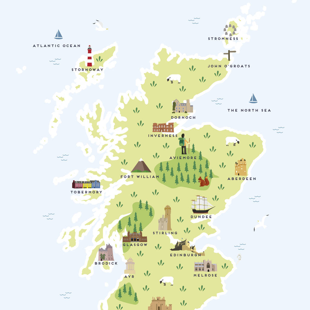Map Of Scotland Print By Pepper Pot Studios ...