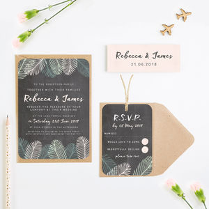 Tropical Chalkboard Wedding Invitation Bundle