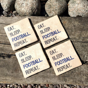 Set Of Four Eat, Sleep, Football, Repeat Coasters