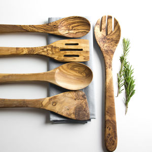 Olive Wood Five Piece Kitchen Utensil Set