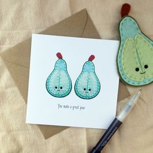 Great Pear Greeting Card - engagement cards