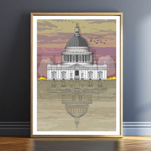 St. Paul's Cathedral Sunset Architectural Print - drawings & illustrations