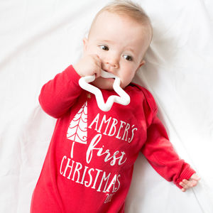 Personalised Baby's 'First Christmas' Babygrow - baby & child christmas clothing