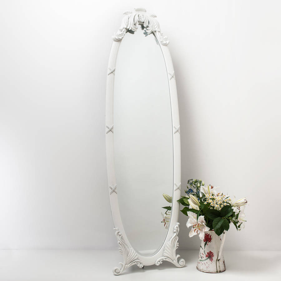 White Full Length Cheval By Hand Crafted Mirrors