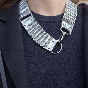 Silver Leather Statement Necklace - necklaces & pendants