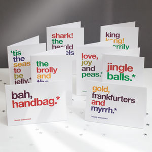 Pack Of Eight Autocorrect Funny Christmas Cards - cards & wrap