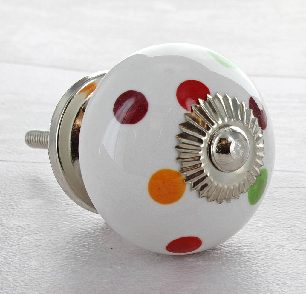 Multi Coloured Polka Dot Cupboard Knob Drawer Handle