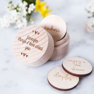 Personalised 'Reasons I Love You' Token Box - love tokens