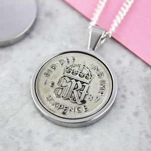 Sixpence 1937 80th Birthday Coin Necklace - 80th birthday gifts