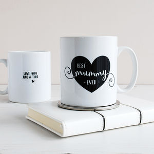Best Mum Ever Heart, Personalised Mug - mugs