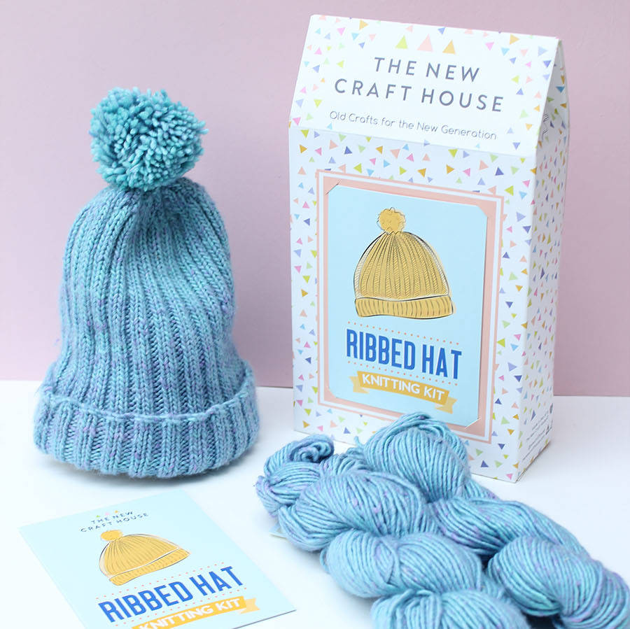 Knitting Pattern Ribbed Bobble Hat : ribbed bobble hat knitting kit by the new craft house ...
