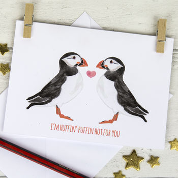 Romantic And Funny Puffin Card